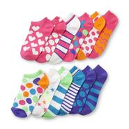 Girl's 6-Pack Ankle Socks - Stripes & Dot at Kmart.com