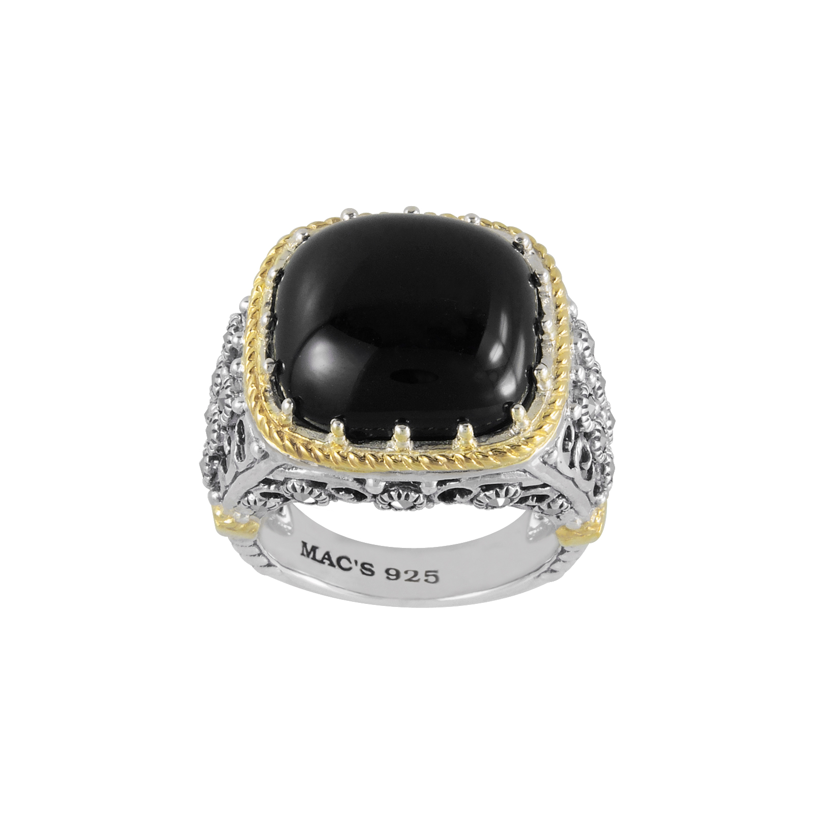 Mac's Cabochon Square Cut Black Onxy & Marcasite accented with 14K Yellow Gold Trim Ring