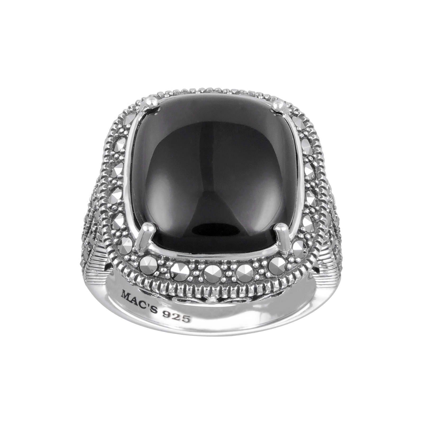 Mac's Cabochon Square Cut Black Onyx & Marcasite Ring