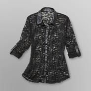 Bongo Junior's Lace Blouse with Faux Leather Trim at Sears.com