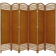 Oriental Furniture 5 1/2 ft. Tall Fiber Weave Room Divider - 6 Panel - Dark Beige at Kmart.com