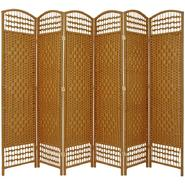 Oriental Furniture 5 1/2 ft. Tall Fiber Weave Room Divider - 6 Panel - Light Beige at Kmart.com