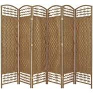 Oriental Furniture 5 1/2 ft. Tall Fiber Weave Room Divider - 6 Panel - Natural at Kmart.com