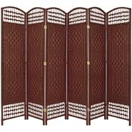Oriental Furniture 5 1/2 ft. Tall Fiber Weave Room Divider - 6 Panel - Dark Red at Kmart.com