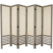 Oriental Furniture 5 1/2 ft. Tall Open Lattice Fabric Room Divider - 6 Panel - Burnt Grey at Kmart.com