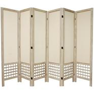 Oriental Furniture 5 1/2 ft. Tall Open Lattice Fabric Room Divider - 6 Panel - Burnt White at Kmart.com