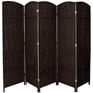 Oriental Furniture 6 ft. Tall Diamond Weave Fiber Room Divider - 5 Panel - Black at Kmart.com