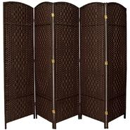 Oriental Furniture 6 ft. Tall Diamond Weave Fiber Room Divider - 5 Panel - Dark Mocha at Kmart.com