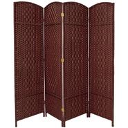 Oriental Furniture 6 ft. Tall Diamond Weave Fiber Room Divider - 4 Panel - Dark Red at Kmart.com