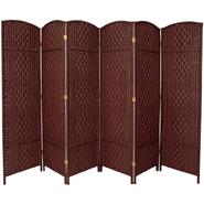 Oriental Furniture 6 ft. Tall Diamond Weave Fiber Room Divider - 6 Panel - Dark Red at Kmart.com