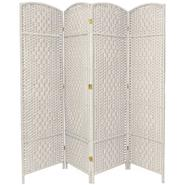 Oriental Furniture 6 ft. Tall Diamond Weave Fiber Room Divider - 4 Panel -White at Kmart.com