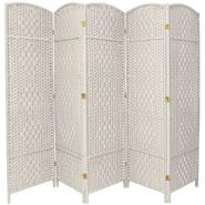 Oriental Furniture 6 ft. Tall Diamond Weave Fiber Room Divider - 5 Panel - White at Kmart.com