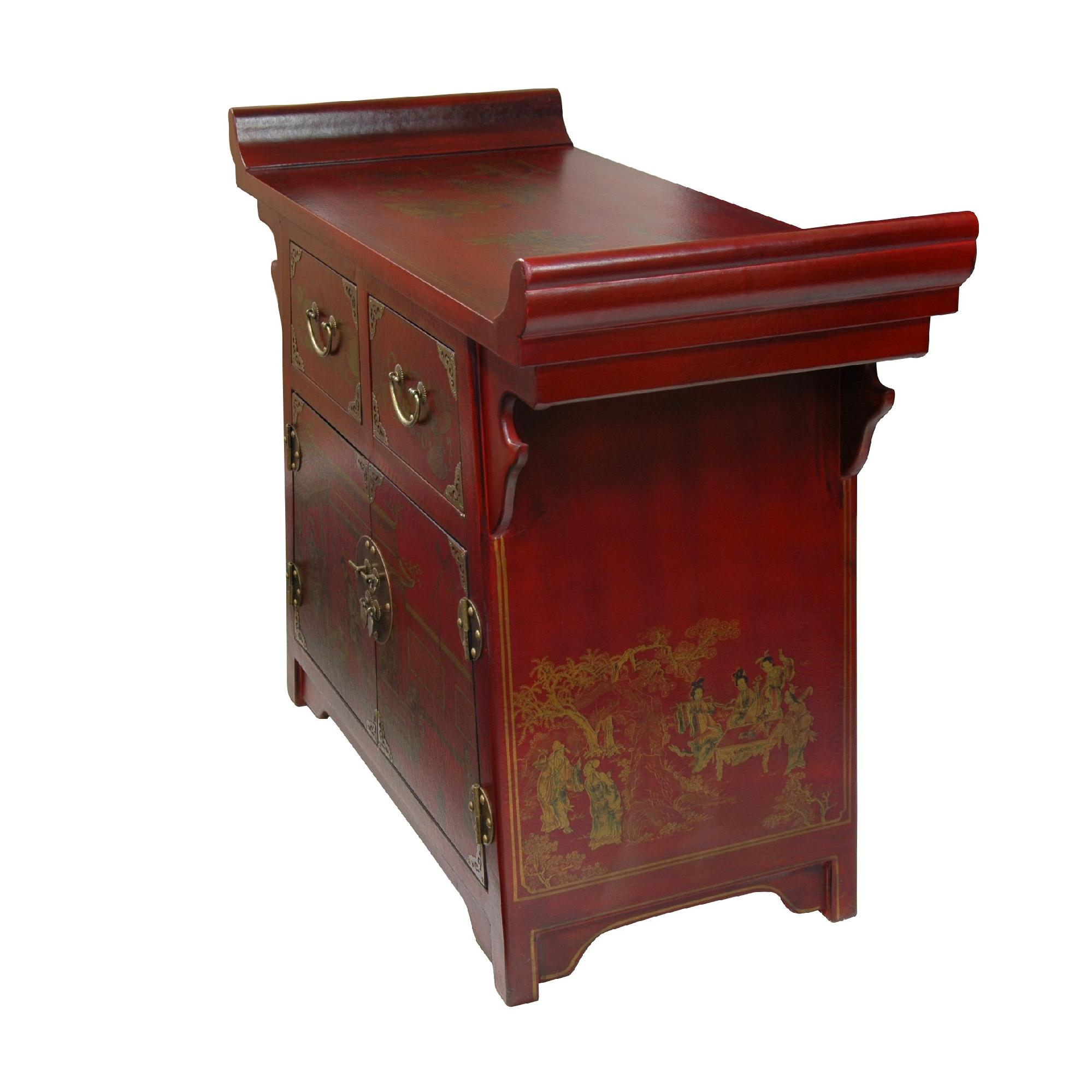 Oriental Furniture Oriental Furniture Red Lacquer Village Life Altar  Cabinet 4