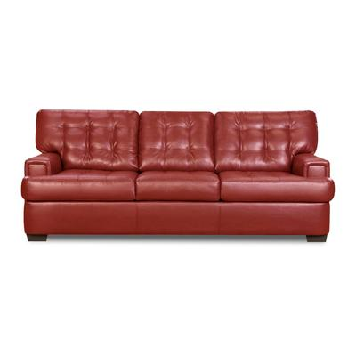 Soho Red Leather Transitional Sofa