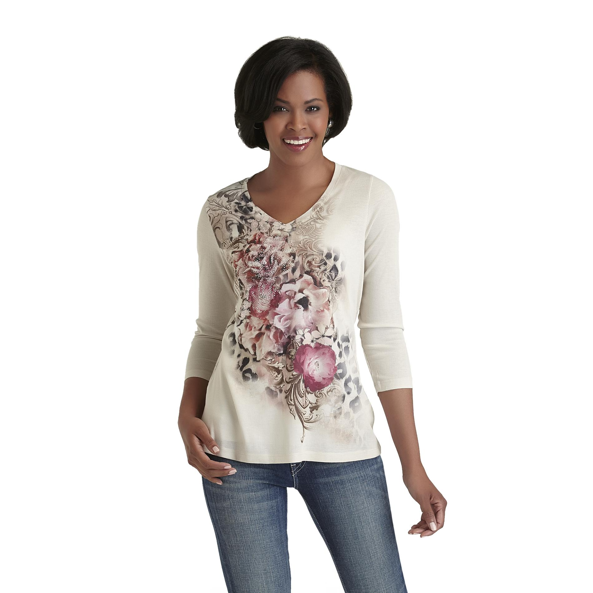 Laura Scott Women's V-Neck T-Shirt - Glitter Floral Print at Sears.com
