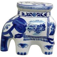 "Oriental Furniture 14"" Landscape Blue & White Porcelain Elephant Stool at Kmart.com"