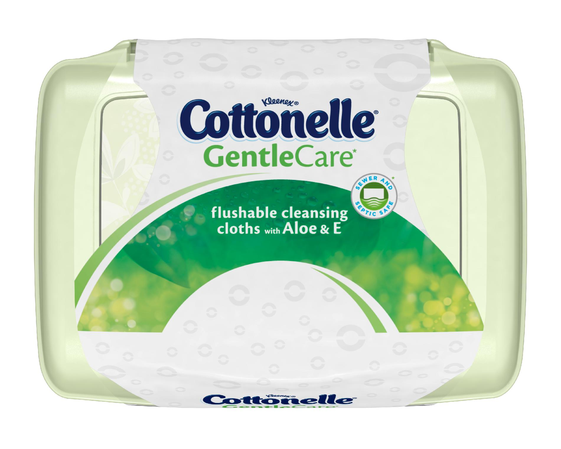Cottonelle Gentle Care* Flushable Cleansing Cloths with Aloe & E Tub, 42ct