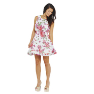 AX Paris Women's Floral Chiffon Skater Black Dress - Online Exclusive at Kmart.com