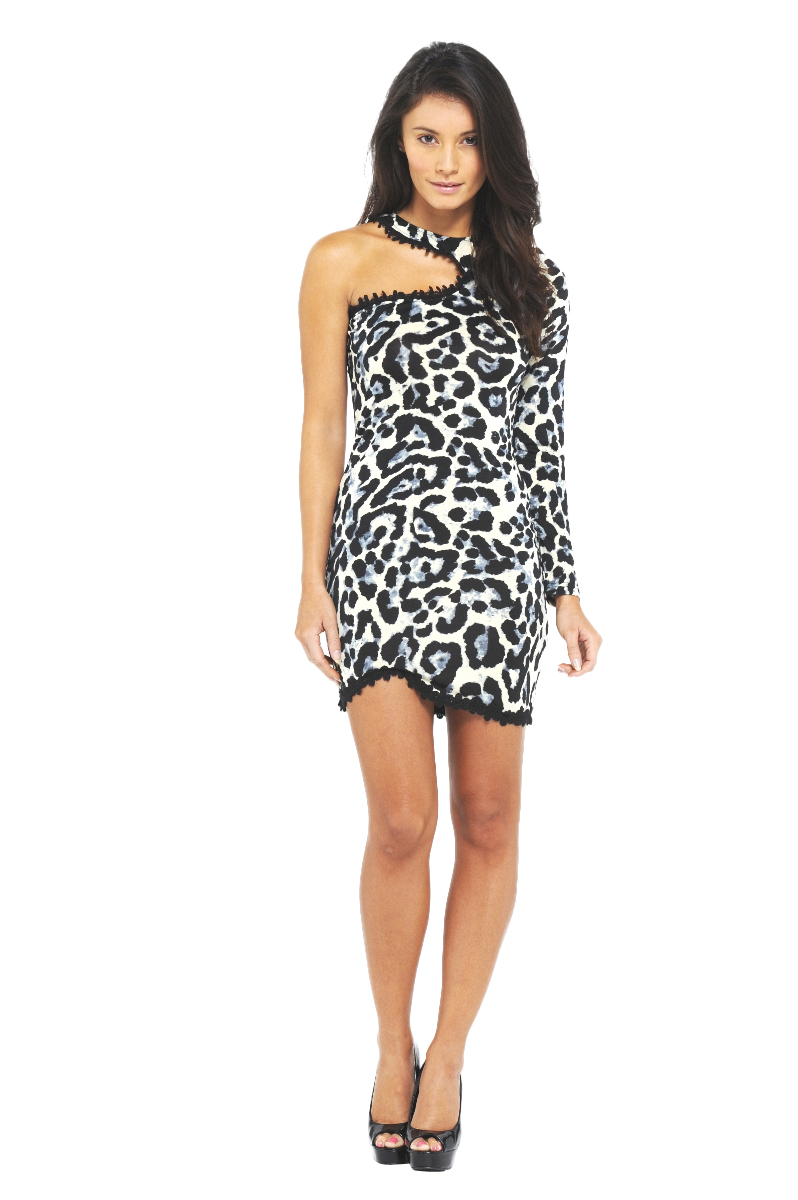 AX Paris Women's Crochet Trim One shoulder Animal Print Dress - Online Exclusive at Kmart.com