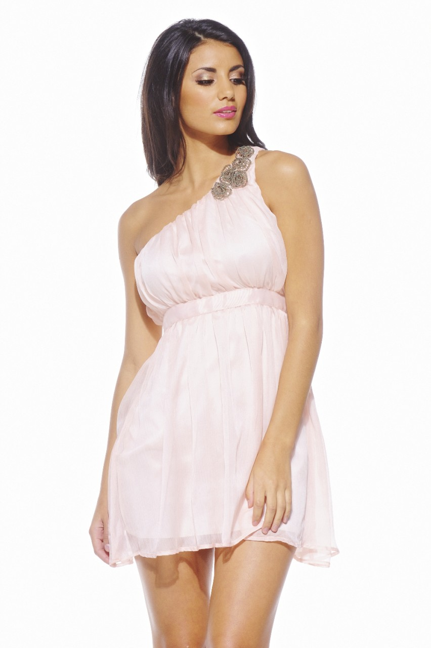 AX Paris Women's Asymmetric Embellished Chiffon Pink Dress - Online Exclusive at Sears.com