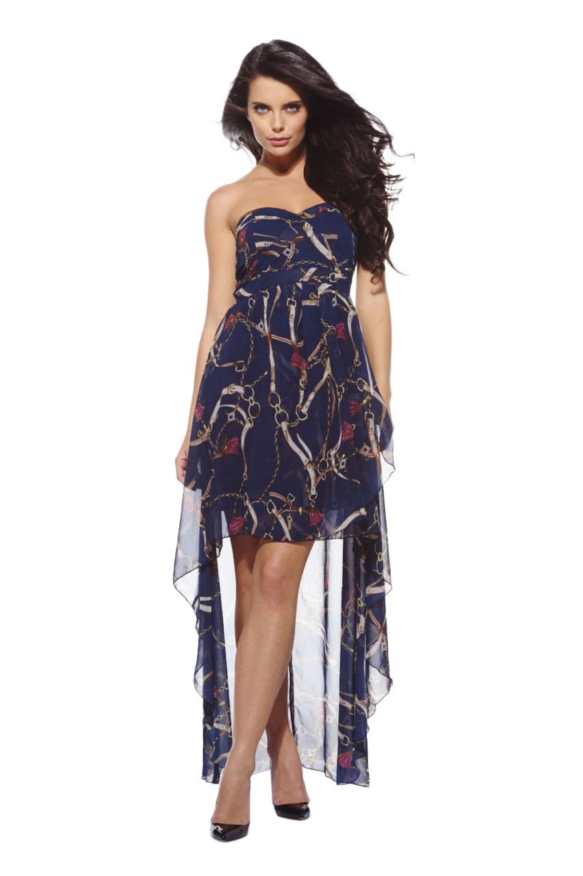 AX Paris Women's Chain Printed Strapless Chiffon Dress - Online Exclusive at Sears.com