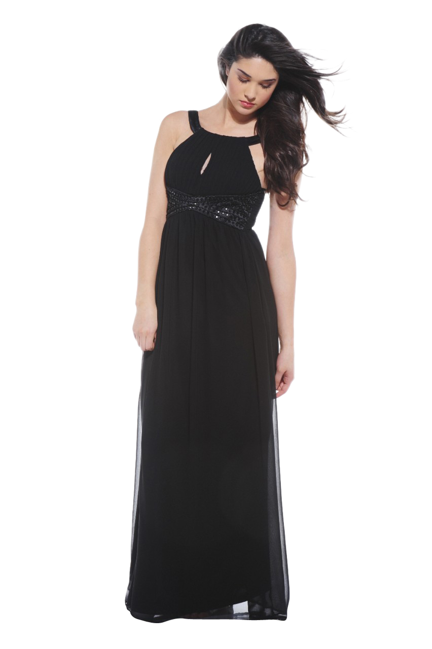 AX Paris Women's Embellished Key Hole Front Black Maxi - Online Exclusive at Kmart.com