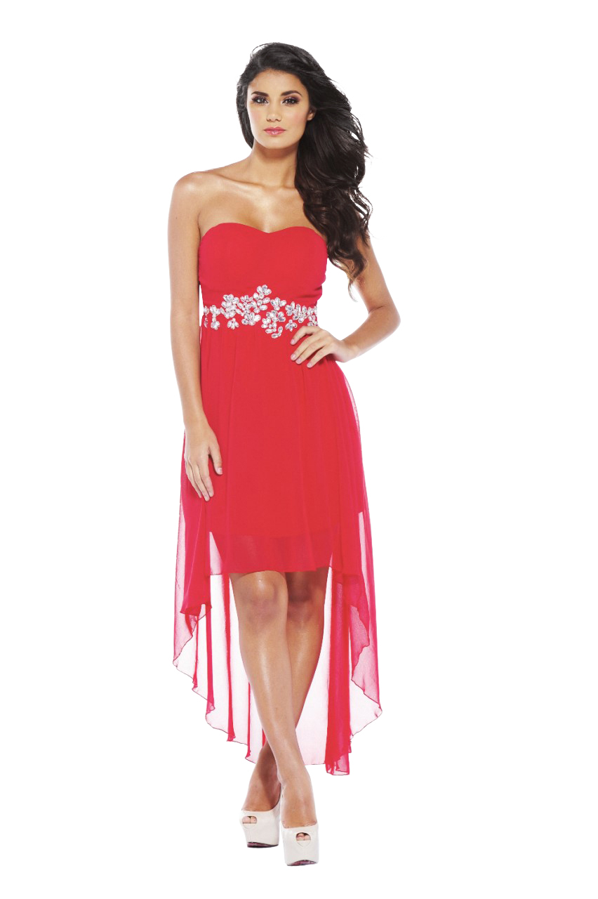 Women's Chiffon Jewel Strapless Drop Back Red Dress - Online Exclusive