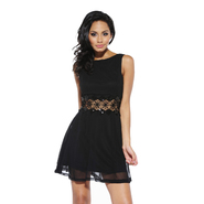AX Paris Women's Sequin Crochet Waist Chiffon Skater Dress - Online Exclusive at Kmart.com
