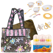 Trend Lab Baby Blossoms Diaper Bag with Bottle, Train...