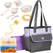 Baby Boom Jasmine Collection Tote with Bottle, Training Table Set & Pacifier Bundle at Kmart.com