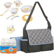 Baby Boom Flap Messenger Diaper Bag with Bottle, Training Table Set & Pacifier Bundle at Kmart.com