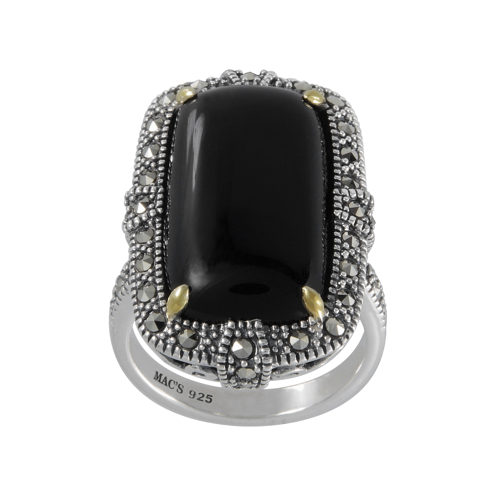 Mac's Cabochon Rectangular Cut Black Onyx & Marcasite accented with 14K Yellow Gold Prong Ring
