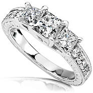 Diamond-Me Princess Diamond Three-Stone Engagement Ring 1 1/3 carats (ct.tw) in 14K White Gold at Kmart.com