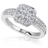 Diamond-Me Princess and Round Diamond Engagement Ring 1/2 carat (ct.tw) in 14K White Gold at Kmart.com