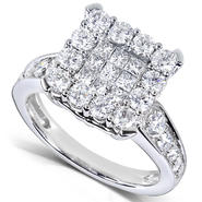 Diamond-Me Large Cluster Diamond Engagement Ring 1 1/3 carats (ct.tw) in 14k White Gold at Kmart.com