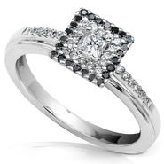 Diamond-Me Black and White Diamond Engagement Ring 1/3 carat (ct.tw) in 10k White Gold at Kmart.com