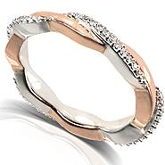 Diamond-Me Round Diamond Two Tone Eternity Band 1/6 Carat (ct.tw) in 10k White and Rose Gold at Sears.com