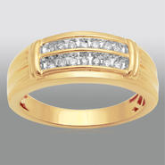 1/4 ct Yellow Gold Over Sterling Silver Men's Diamond Wedding Band at Sears.com