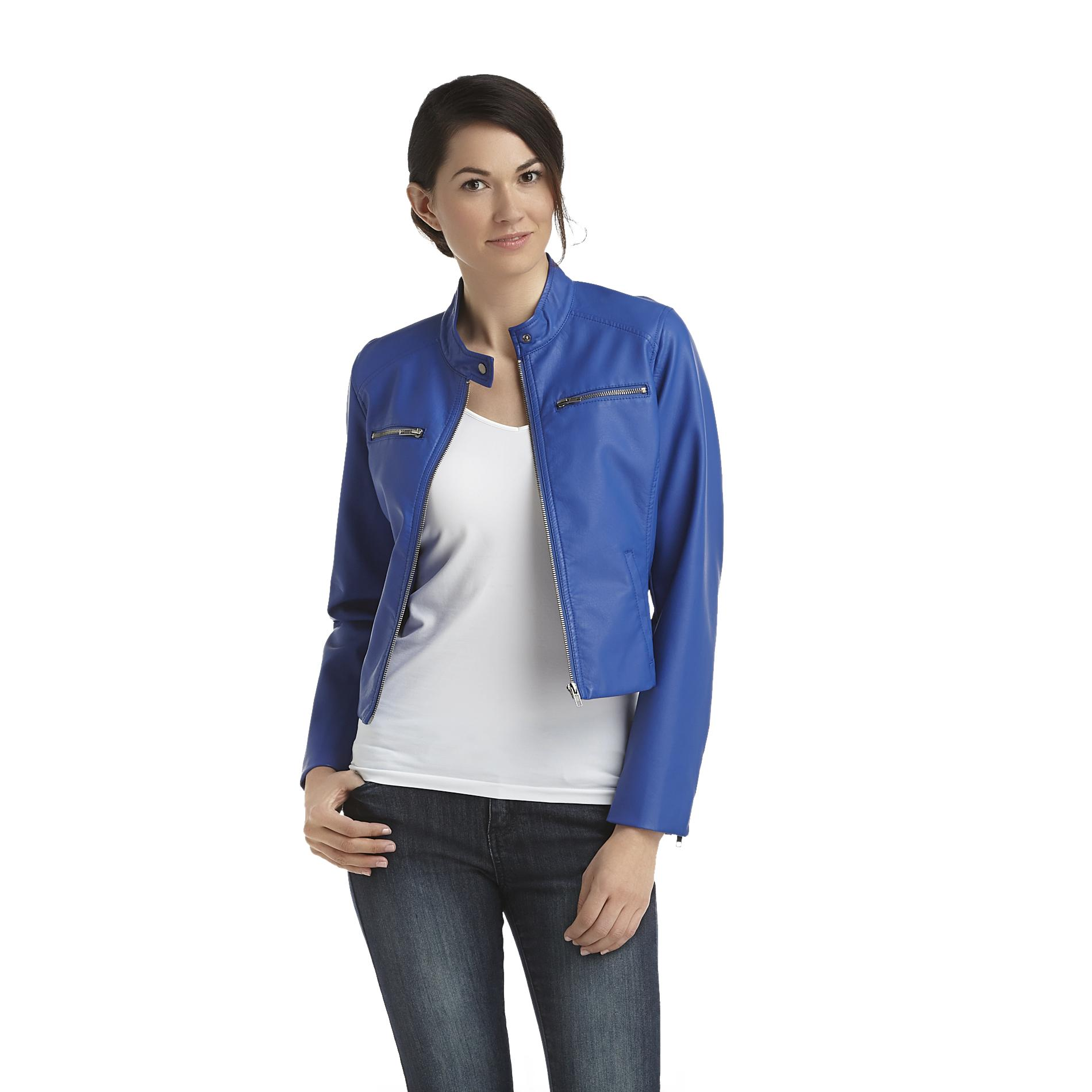Grisbi Women's Cropped Moto Jacket - Faux Leather at Sears.com