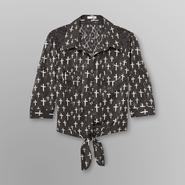 Bongo Junior's Printed Tie-Front Chiffon Shirt - Cross at Sears.com