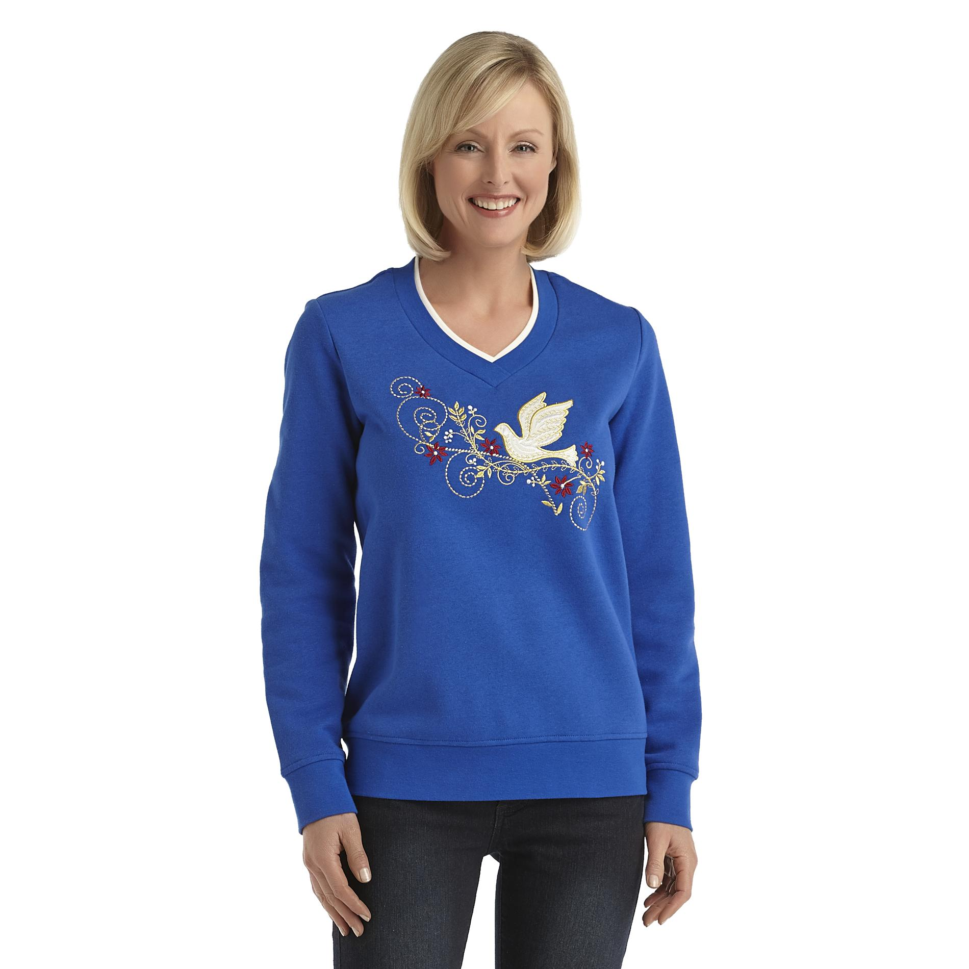 Laura Scott Women's Fleece Holiday Sweatshirt - Christmas Dove at Sears.com