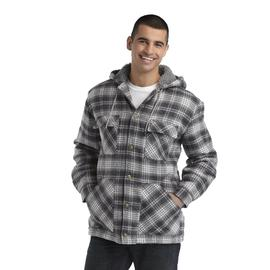 Basic Editions Men's Faux Sherpa Lined Hooded Jacket - Plaid at Kmart.com