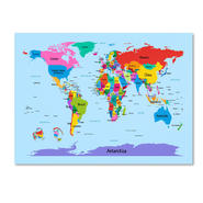 Trademark Fine Art Michael Tompsett 'Childrens World Map' Canvas Art at Sears.com