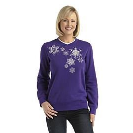 Laura Scott Women's Fleece Holiday Sweatshirt - Snowflakes at Sears.com