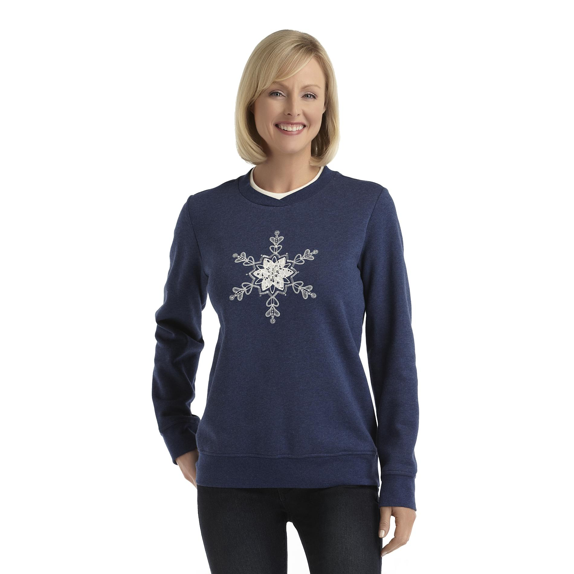 Laura Scott Women's Fleece Holiday Sweatshirt - Snowflake at Sears.com