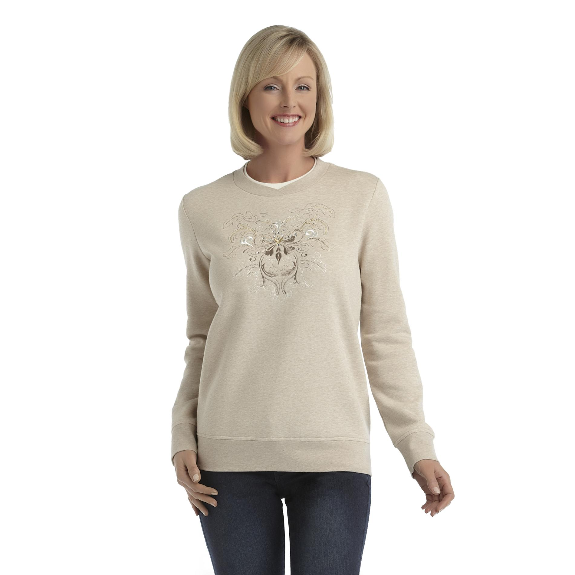 Laura Scott Women's Fleece Holiday Sweatshirt - Scrollwork at Sears.com