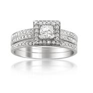 14K White Gold 3/5 Princess-cut & Round Diamond 3-piece Bridal Ring Trio Set (H-I, I1) at Sears.com