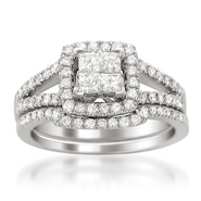 14K White Gold 1ct Princess-cut & Round Diamond Invisible-set Bridal Ring Set (H-I, I1-I2) at Sears.com