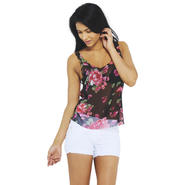 AX Paris Women's Floral Chiffon Black Vest - Online Exclusive at Kmart.com