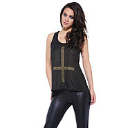 AX Paris Women's Metallic Stud Cross Drop Back Top - Online Exclusive at Kmart.com